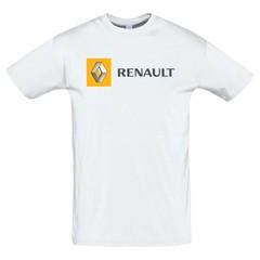 Футболка с принтом Рено (RENAULT) белая