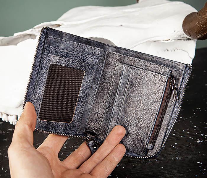 WL331-3 Мужской кошелек из кожи со вкладышем и монетницей фото 07