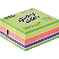 Стикеры Attache Selection Фреш 76х76 мм неоновые и пастельные 5 цветов (1 блок, 400 листов)