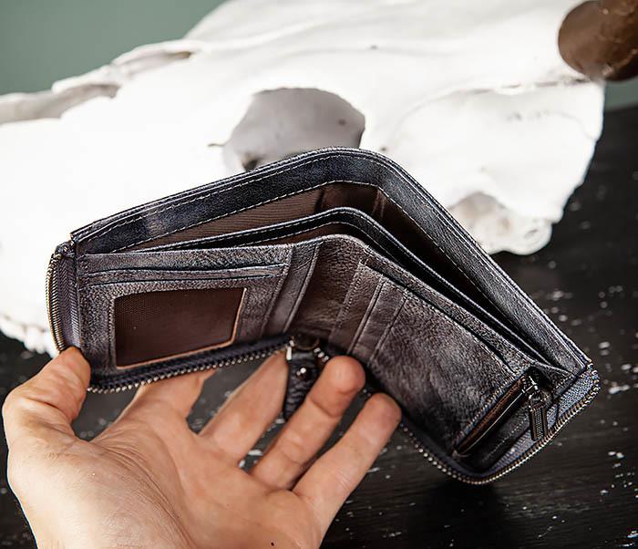 WL331-3 Мужской кошелек из кожи со вкладышем и монетницей фото 08