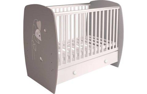 Кровать детская Polini kids French 710, Amis, с ящиком, белый-серый