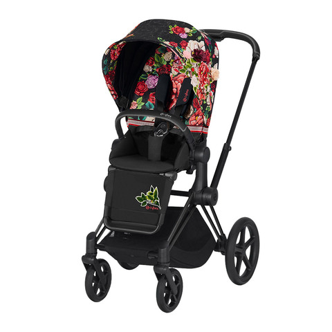 Прогулочная коляска Cybex Priam III FE Spring Blossom Dark шасси Matt Black