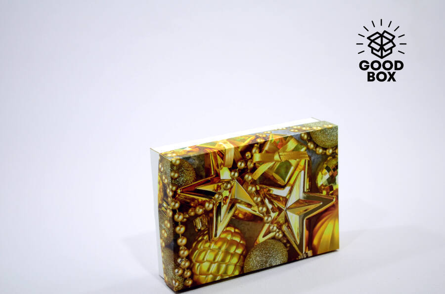 Золотая новогодняя коробка купить в Алматы