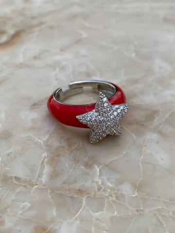 Кольцо Файви из серебра с красной эмалью