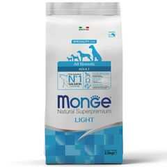 Корм для собак Monge Dog Light низкокалорийный, лосось с рисом