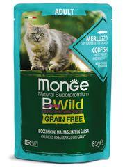 Паучи для взрослых кошек, Monge Cat BWild GRAIN FREE, из трески с креветками и овощами