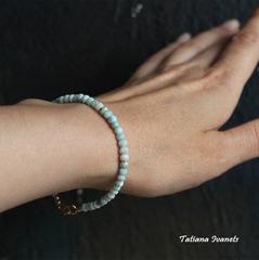 Тонкий браслет из ларимара 4 мм