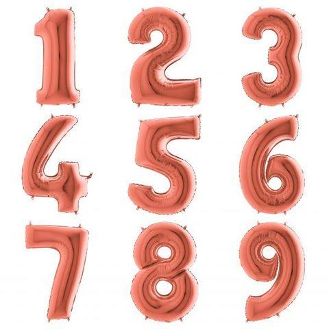 Цифры Розовое золото с гелием 102 см
