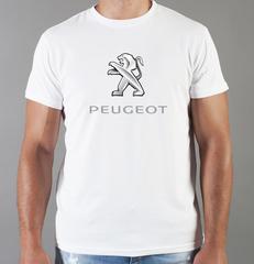 Футболка с принтом Пежо (Peugeot) белая 004