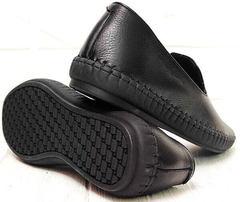 Мужские кожаные слипоны туфли на плоской подошве casual Broni M36-01 Black.