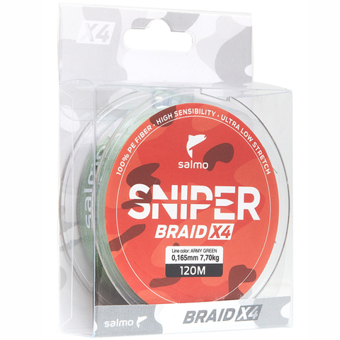 Плетеный шнур SALMO Sniper BRAID Army Green 120m - 0,20