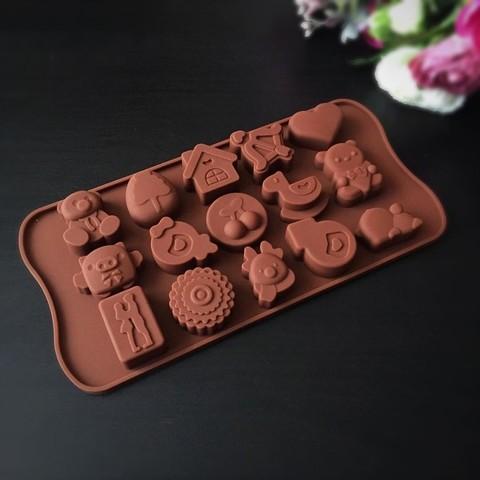 Силиконовая форма для шоколада ДЕТСКИЕ ИГРУШКИ 15в1 (30х30мм)