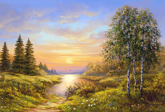 Картина раскраска по номерам 30x40 Начало заката на природе