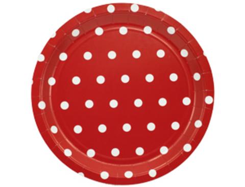 1502-3925 Тарелка Горошек красная 23см 6шт/G