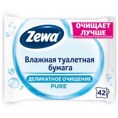 Бумага туалетная влажная Zewa Pure 42 листа в пачке
