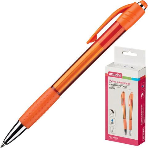 Ручка шариковая автоматическая Attache Happy синяя (оранжевый корпус, толщина линии 0.5 мм)