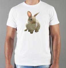 Футболка с принтом Заяц (Кролик) белая 001