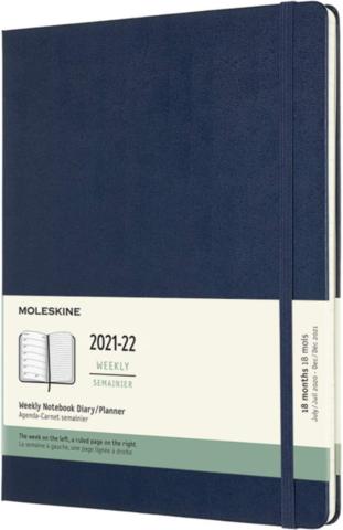 Еженедельник Moleskine (DHB2018WN4) Academic WKNT 190х250мм датир.18мес 208стр. синий сапфир