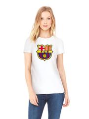Футболка с принтом FC Barcelona (ФК Барселона) белая w005