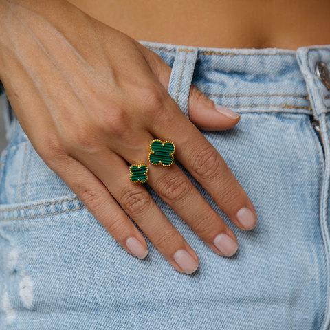 Кольцо незамкнутое Два Клевера (зеленый, золотистый)