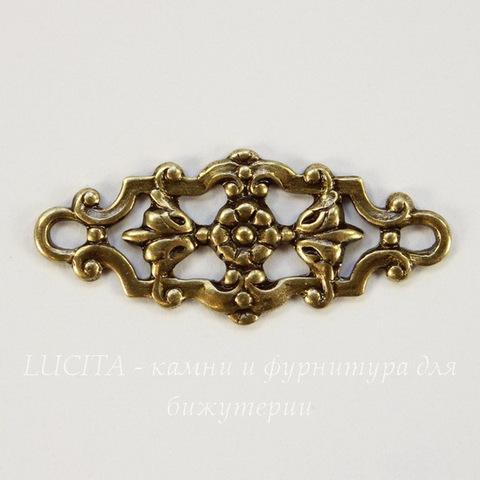 Винтажный декоративный элемент - филигрань 29х12 мм (оксид латуни)