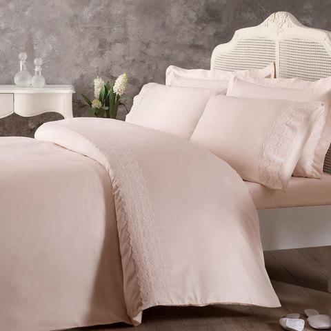 Постельное белье ARIAN розовый  с кружевом   TIVOLYO HOME Турция