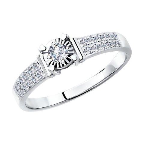 1011116 - Стильное кольцо из белого золота c бриллиантами
