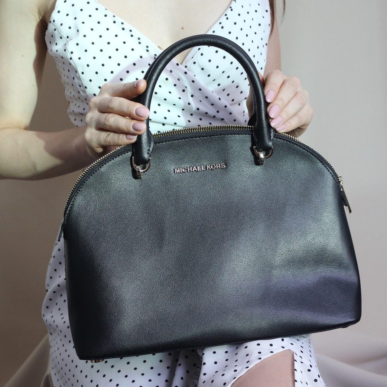Сумка Michael Kors EMMY LG Dome Satchel Leather черная круглая с двумя ручками
