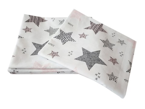 Пеленка польский хлопок BabyStarTex, 80x90 см, белая звезды розовые/серые крупные, 1 шт