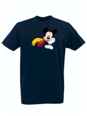 Футболка с принтом Микки Маус (Mickey Mouse) темно-синяя 0012