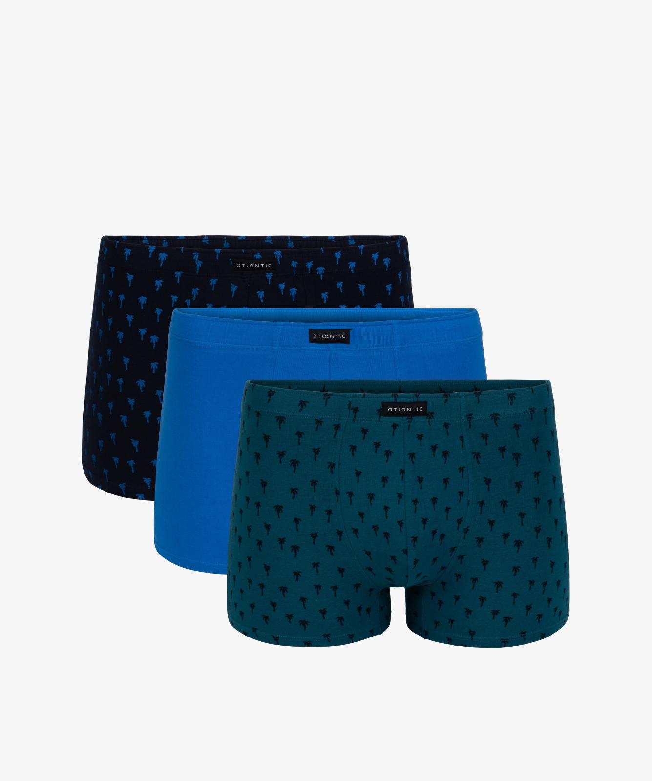 Мужские трусы шорты Atlantic, набор из 3 шт., хлопок, темно-синие + голубые + зеленые, 3MH-006