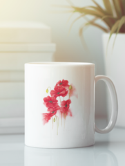 Кружка с изображением Цветы (Маки) белая 002