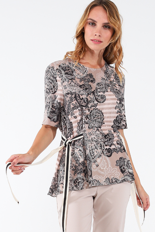 Фото свободная бежевая блуза с округлым вырезом и регулируемой талией - Блуза Г702-535 (1)