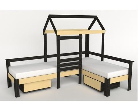Кровать-домик АВАРА-2 с ящиками  левая 1700-700 /2552*1800*1832/