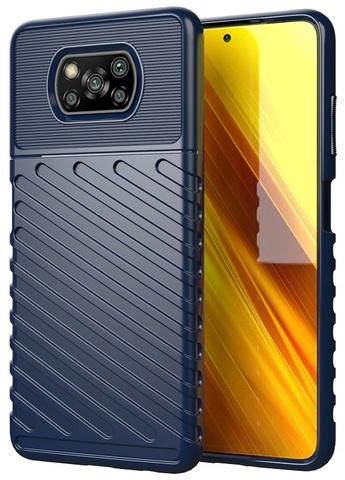 Чехол ударопрочный темно-синего цвета на Xiaomi Poco X3 NFC, серия Onyx от Caseport