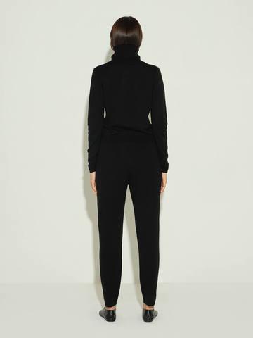 Женские брюки черного цвета из шерсти и шелка - фото 4