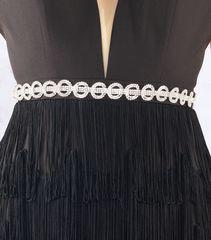 Черное длинное платье, пояс украшен камнями swarowski Mac Duggal 4480