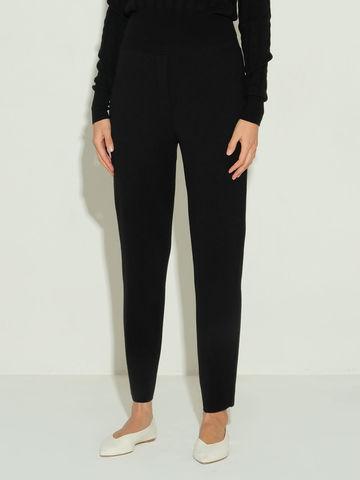 Женские брюки черного цвета из шерсти и шелка - фото 3