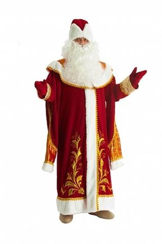Новогодний костюм Деда Мороза из красного бархата с вышитым золотистым орнаментом