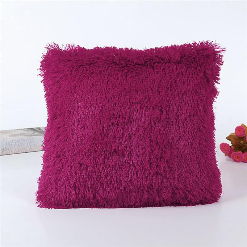 Подушка интерьерная с длинным ворсом, бордового цвета