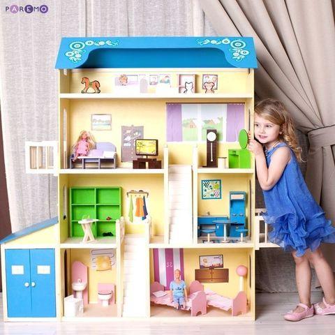"""Кукольный домик для Барби """"Лира"""" (28 предметов мебели, 2 лестницы, гараж)"""