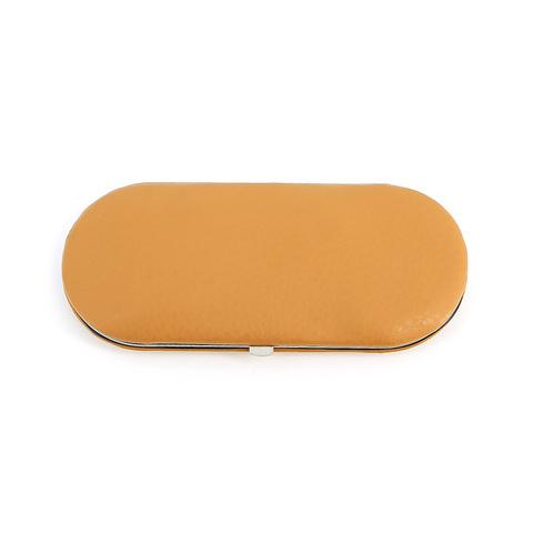 Маникюрный набор GD, 5 предметов, цвет оранжевый, кожаный футляр