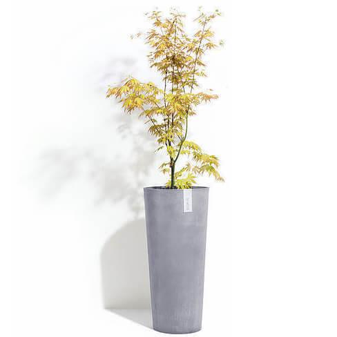 Кашпо Экопотс Amsterdam D30 H50 см Высокое Серое с растением