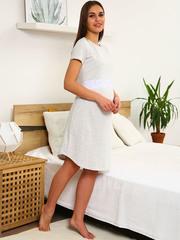 Мамаландия. Сорочка для беременных и кормящих с горизонтальным секретом и кружевом, светло-серый меланж