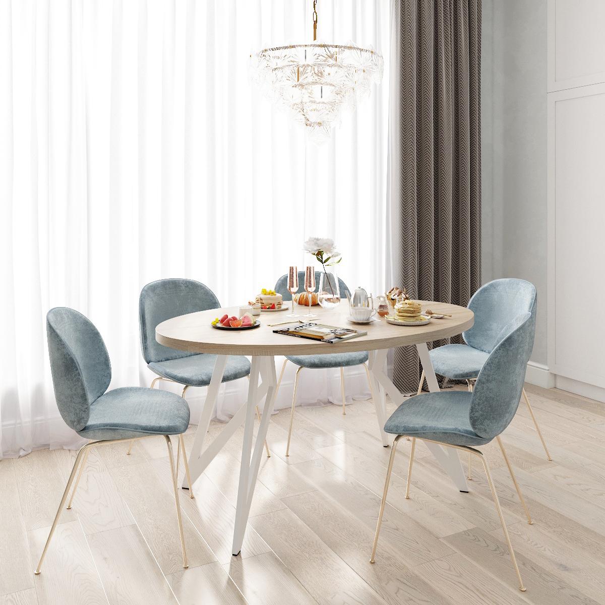 Обеденный стол ДОМУС Оригами-2 дуб сонома/металл белый
