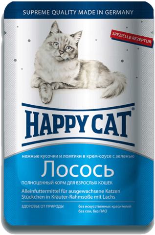 купить Happy Cat Adult Chunks in Gravy with Salmon пауч (влажный корм) для кошек с лососем