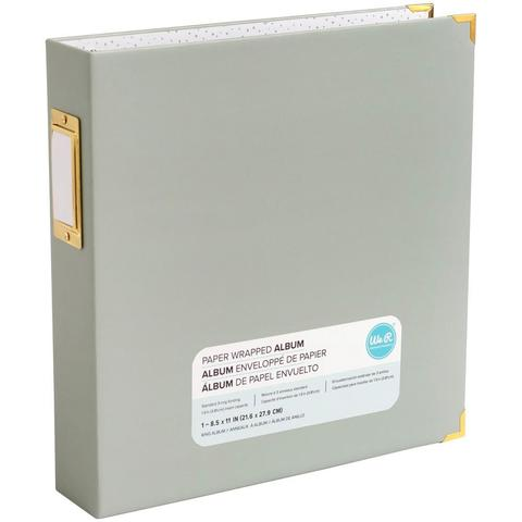Папка на кольцах для фотографий Project Life 22х28 см - We R Paper Wrapped D-Ring Album- Серо-зеленый Slate