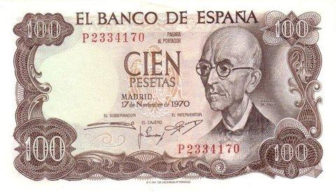 Банкнота 100 песет 1970 год, Испания. АUNC