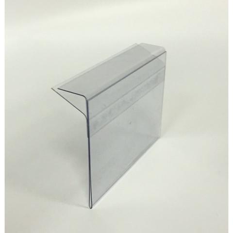 Ценникодержатель пластиковый 60x40 мм для стеклянных полок толщиной 5-8 мм прозрачный (10 штук в упаковке)