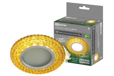 Светильник встраиваемый СВ 03-12 MR16 50Вт G5.3 LED подсветка 3 Вт золото/хром TDM